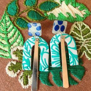 Screenprint Polymer Clay Earrings